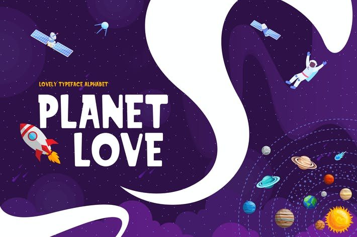 Thumbnail for Planet Love - Fun Children Typeface