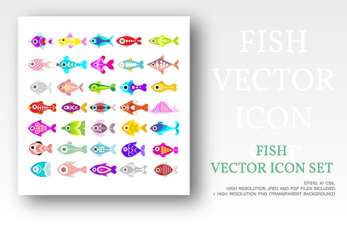Thumbnail for Fish vector icon set