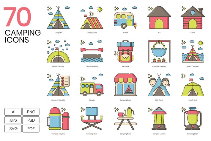 Thumbnail for 70 Camping Line Icons