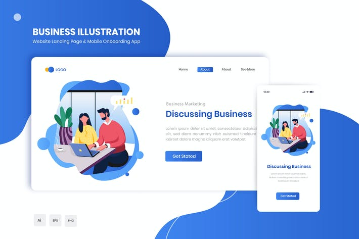 Thumbnail for Discussing Business Flat Landing & Onboarding App