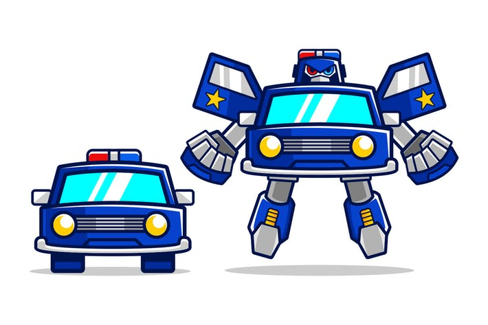 Cartoon Polizei Auto Roboter verwandeln