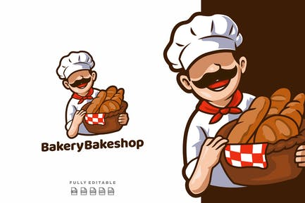 Bakery Bakeshop Mascot Logo