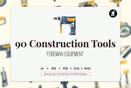 90 Construction tools elements gradient design