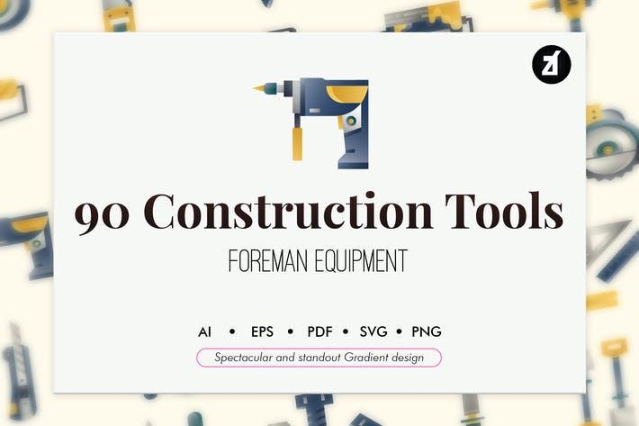 Thumbnail for 90 Construction tools elements gradient design