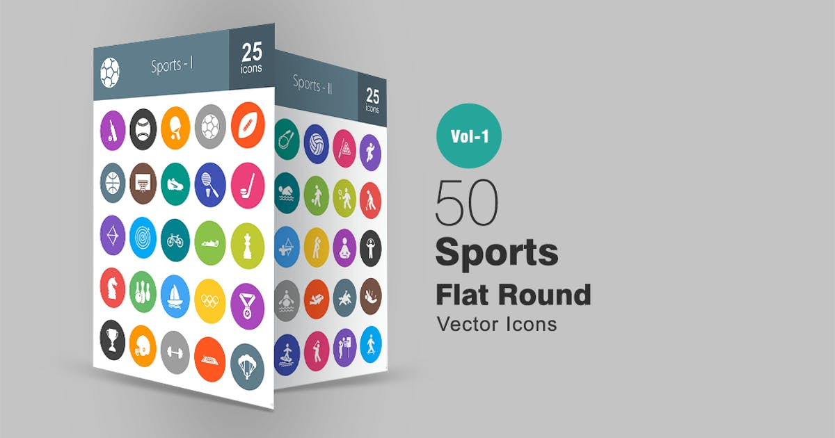 Download 50 Sports Flat Round Icons by IconBunny