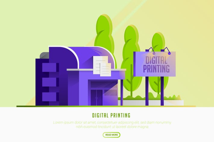 Cover Image For Digital Printing - Vector Landscape & Building