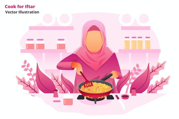 ramadan cook - Vector Illustration