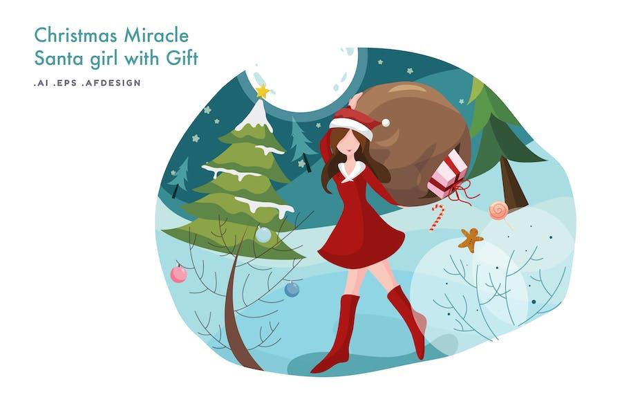Santa Girl with Gift Vector Illustration