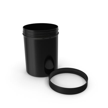 Black Plastic Jar Wide Mouth Straight Sided 8oz Cap Laying