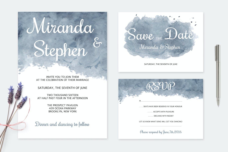 Dark Watercolor Wedding Greeting Card