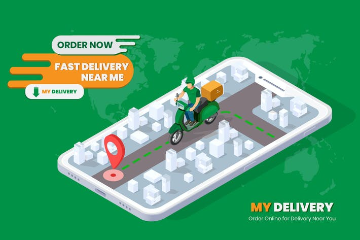 Fast Delivery Isometric Banner Template