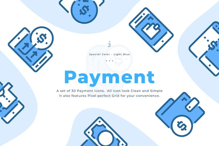 Thumbnail for 30 Payment Icons - Light Blue