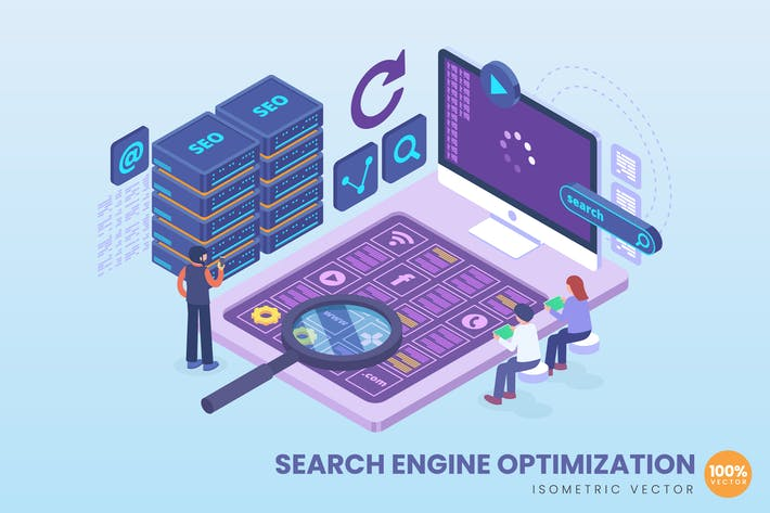 Thumbnail for Isometric Search Engine Optimization Concept