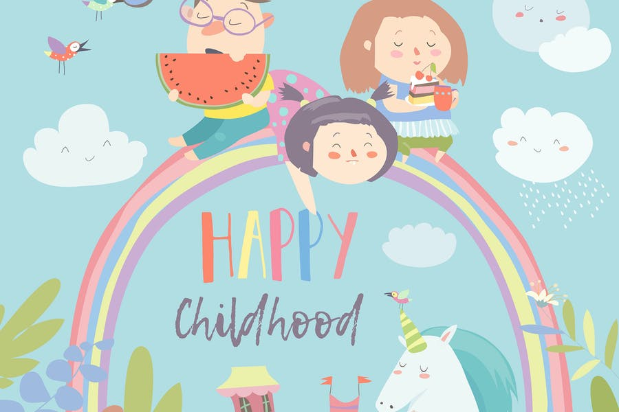 Happy kids on rainbow with magical unicorns.