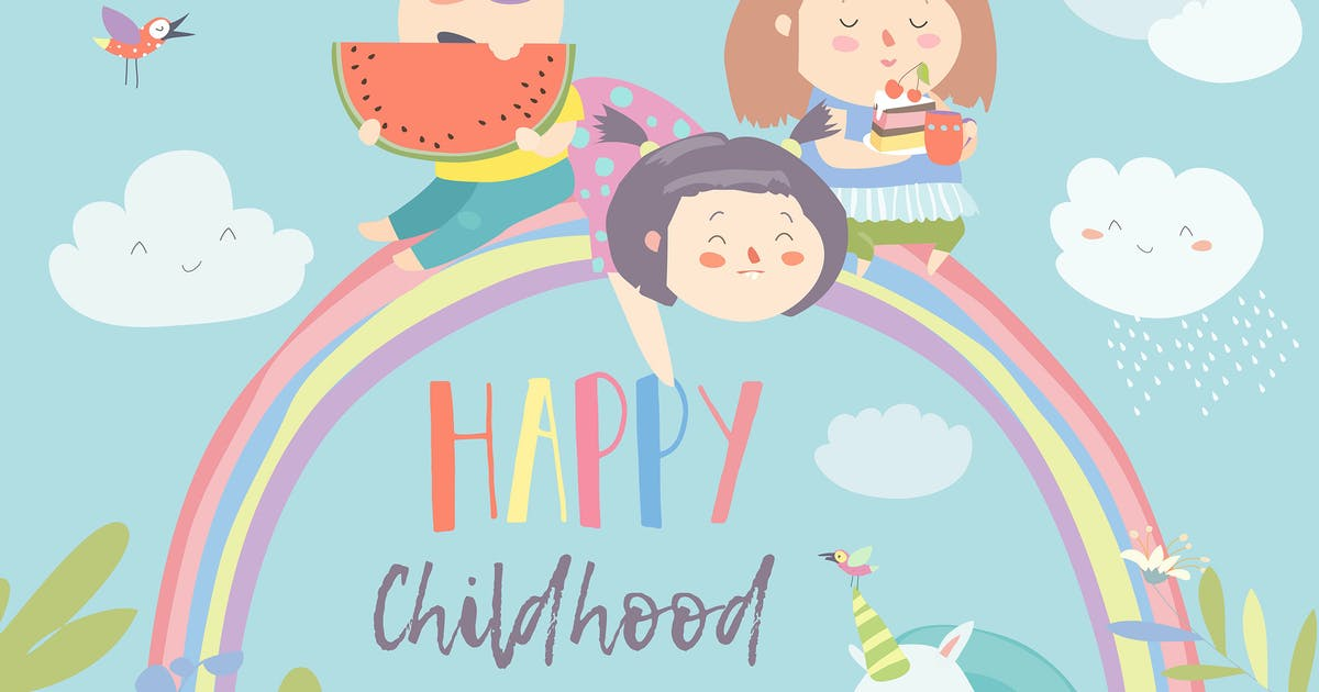 Download Happy kids on rainbow with magical unicorns. by masastarus