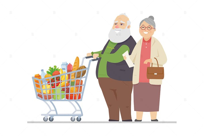 Senior man and woman shopping - flat illustration