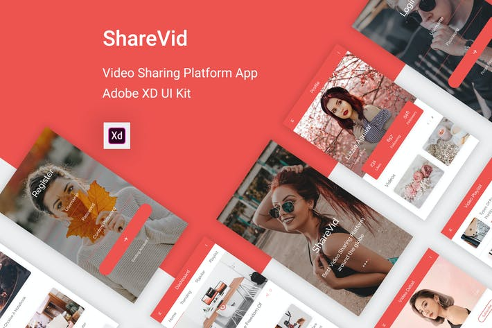 Thumbnail for ShareVid - Video Sharing Platform App for Adobe XD