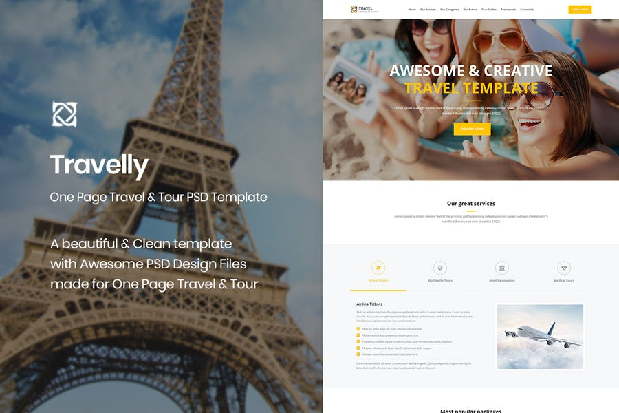 Travelly - One Page Travel & Tour PSD Template