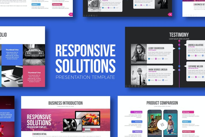 Download presentation templates envato elements thumbnail for responsive solutions powerpoint template flashek Images