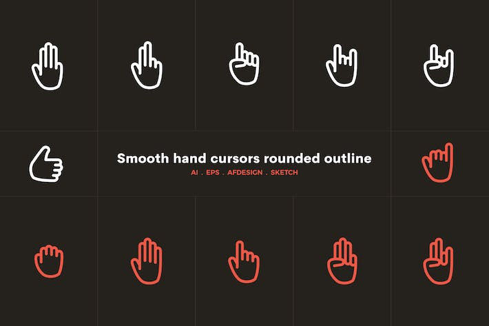 Smooth hand cursors rounded outline