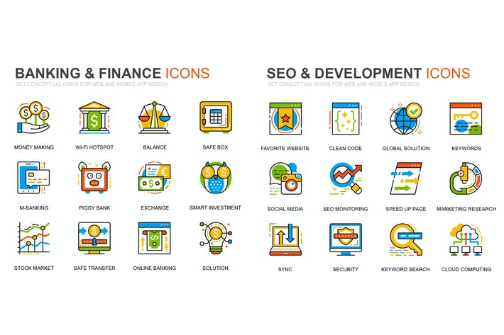 Thumbnail for Banking and Seo Development Line Icons Set