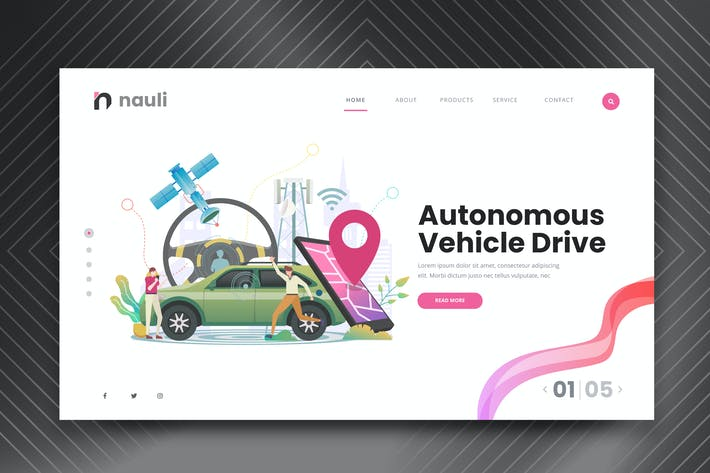 Thumbnail for Self Driving Car Web PSD and AI Vector Template