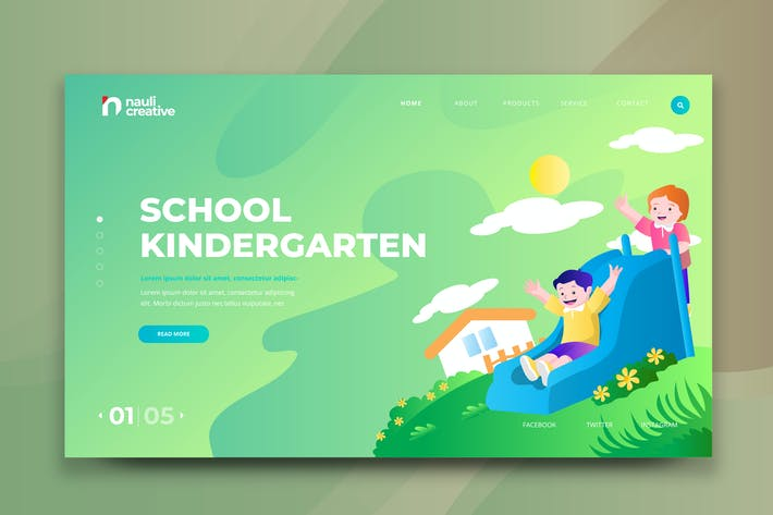 Thumbnail for School Kindergarten Web PSD and AI Vector Template