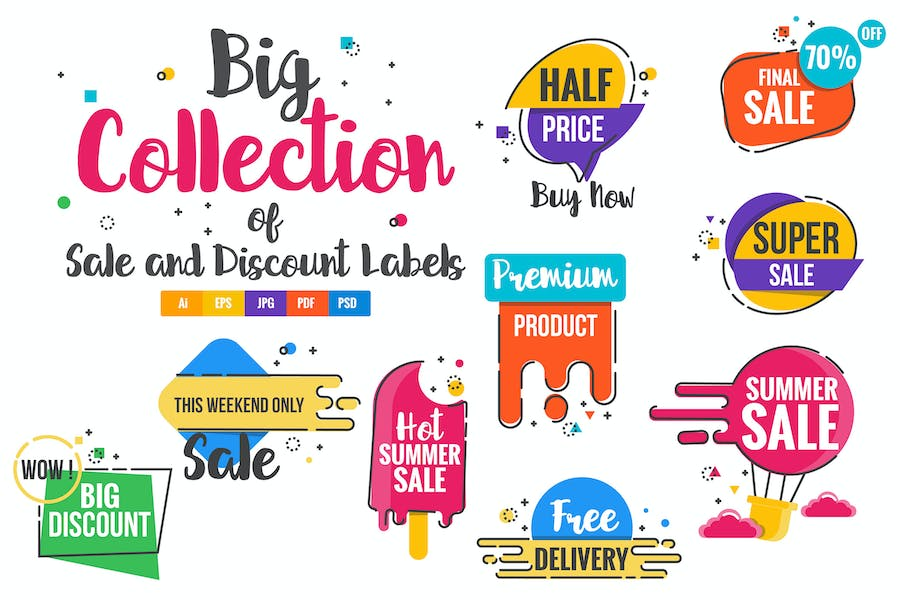 Sale Discount Styled Badges and Banners