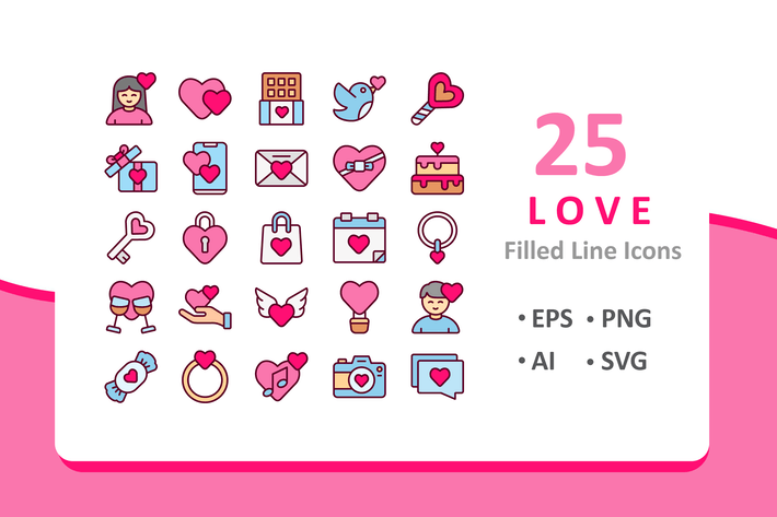 Thumbnail for 25 Love Icons - Filled Line