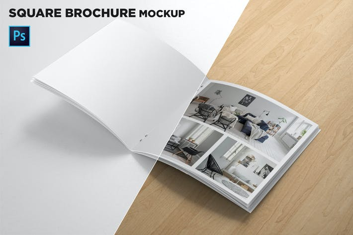 Thumbnail for Square Brochure Open Pages Mockup
