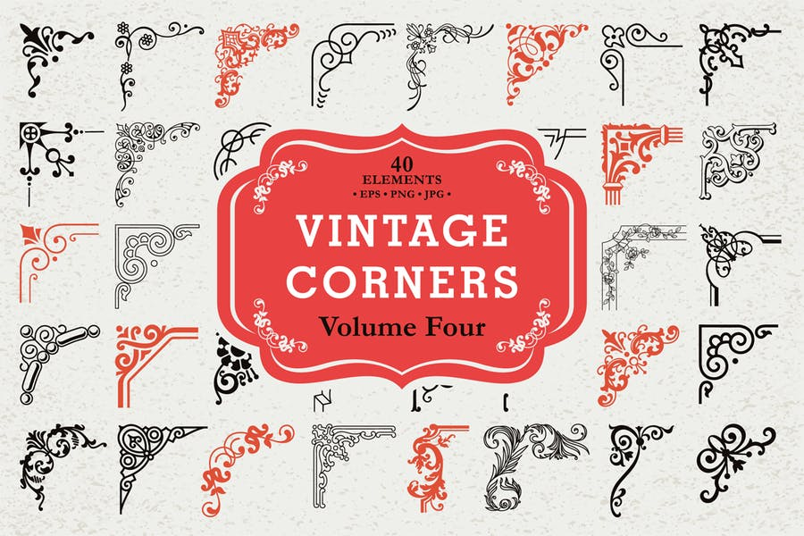 Vector Vintage Corners Set #4, 40 Elements