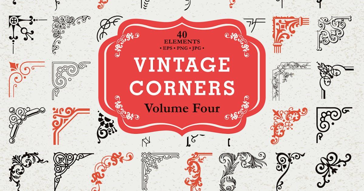 Download Vector Vintage Corners Set #4, 40 Elements by digiselector