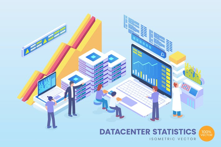 Isometric Data Center Statistics Vector Concept