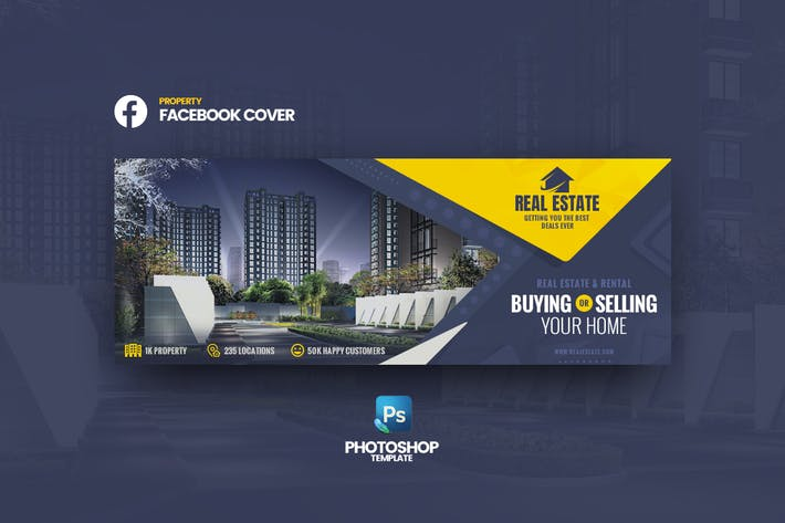Thumbnail for Real Estate Facebook Cover Photoshop Template