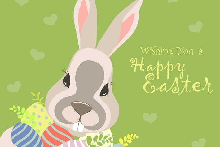 Thumbnail for Easter bunny and easter eggs. Vector illustration