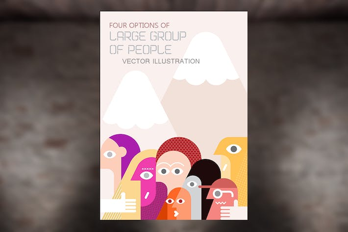 Thumbnail for Four options of Large Group of People illustration