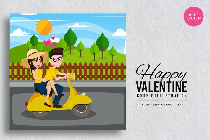 Thumbnail for Romantic Valentine Couple Vector Vol.4