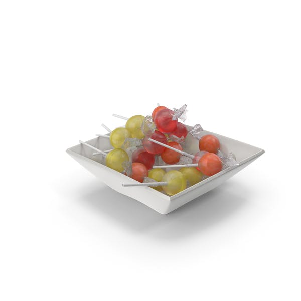 Square Bowl With wrapped Lollipops