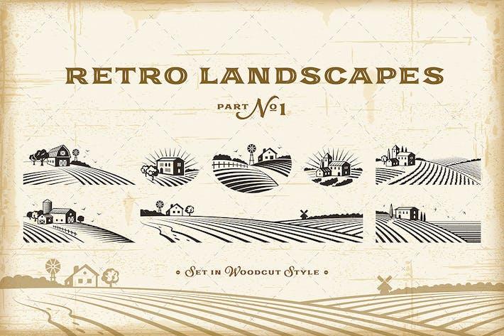 Retro Landschaften Set 1