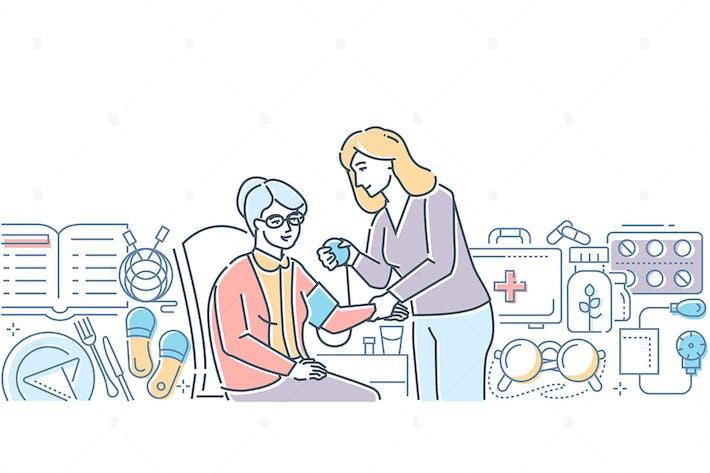 Thumbnail for Уход за пожилыми людьми - линия дизайн стиль иллюстрации