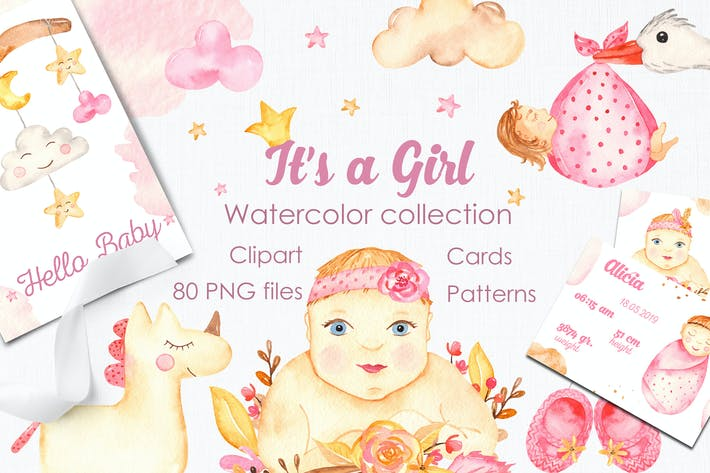 Cover Image For It's a girl watercolor clipart, cards, patterns