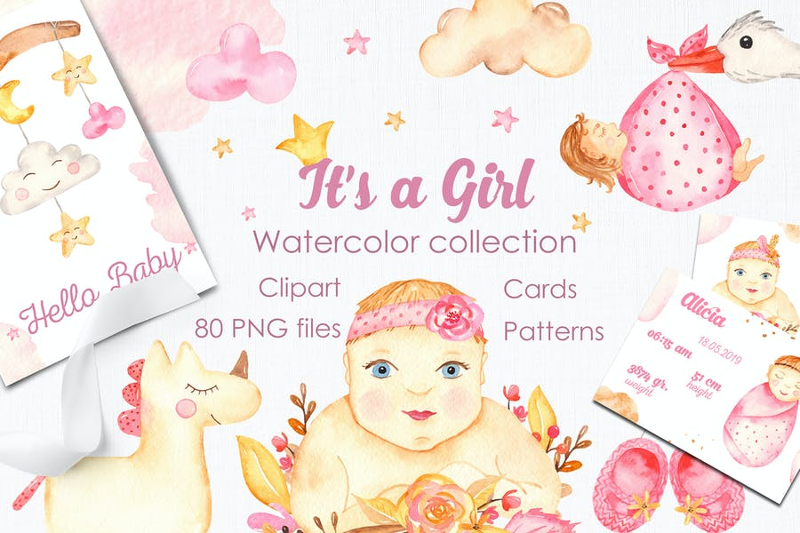 It's a girl watercolor clipart, cards, patterns