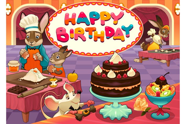 Thumbnail for Happy Birthday Card with Funny Pastry Chef Animals