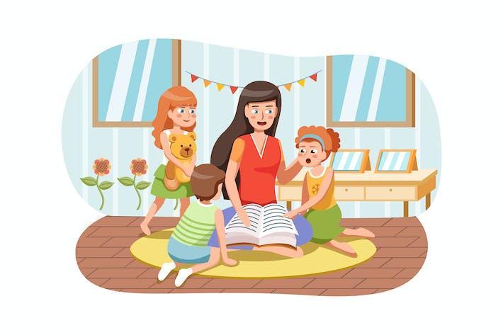 Thumbnail for Kindergarten vector Illustration concept