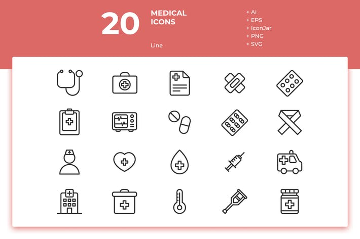 Thumbnail for 20 Medical Icons (Line)