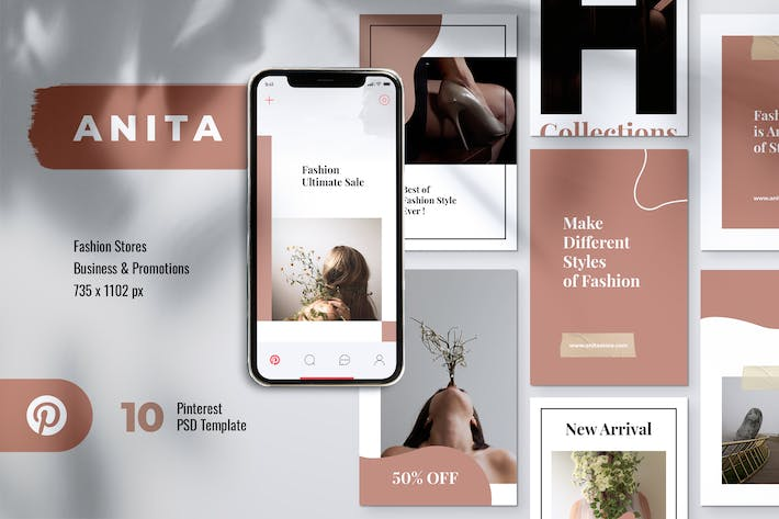 ANITA Fashion Business Pinterest Template