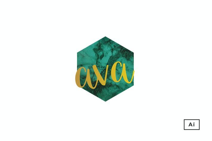 Thumbnail for Ava Green Marble+Gold Logo Template