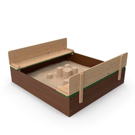 Sandkasten aus Holz mit Sandburg