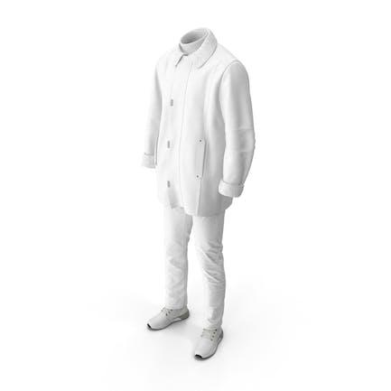Men's Boots Pants Coat Pullover White