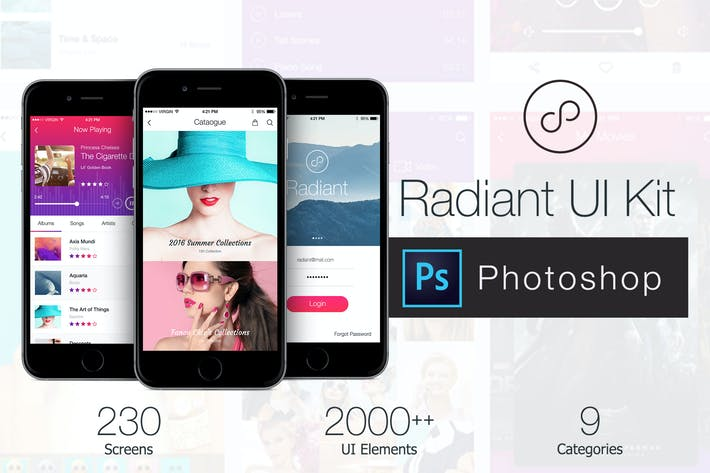 Thumbnail for Radiant Mobile UI Kit - 200+ for Photoshop